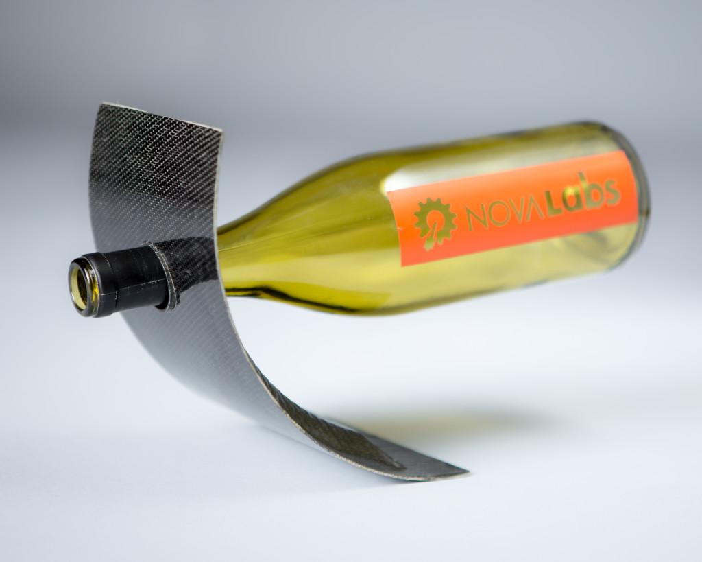 Carbon fiber wine bottle holder made during Composites 101 class at Nova Labs